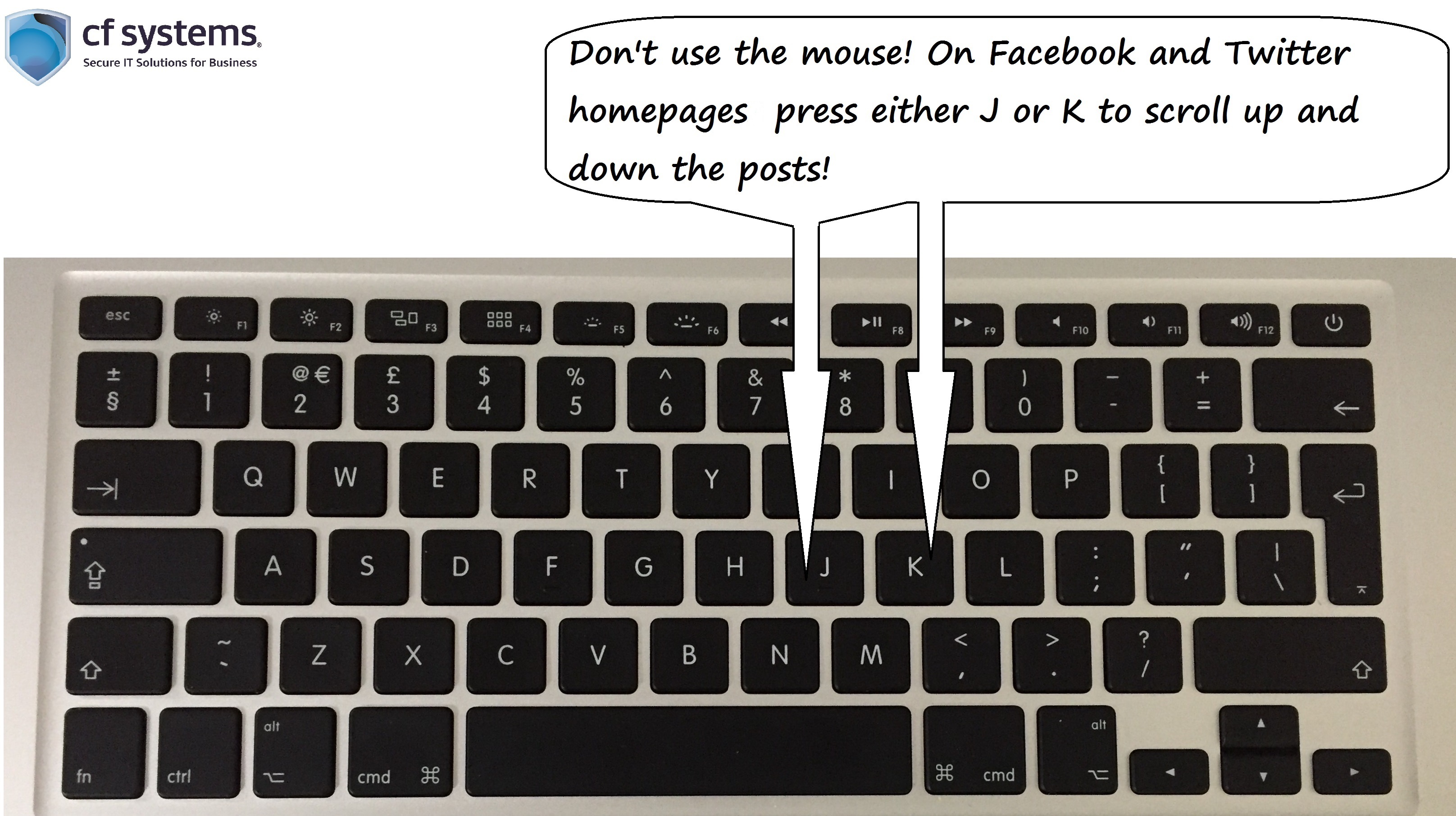 Social Media shortcuts! Scroll up and down your Facebook and Twitter posts by only using your keyboard.